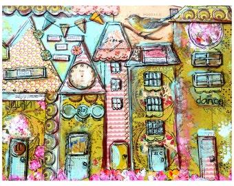 Art Print, Childrens Art, Collage Art, Colorful Prints, Houses