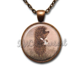 Hedgehog in the Fog Glass Dome Pendant or with Chain Link Necklace FT138