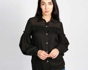 Hudson Black Blouse with Pleated Balloon Sleeves