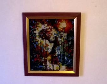 Painting girl under umbrella embroidered glass beads