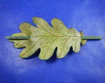 Green leather hair pin Oak leaf, leather oak leaf barrette, leaf leather barrette, leaf leather hair pin, hair leather barrette, eather leaf