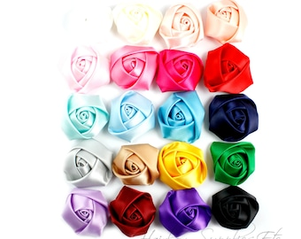 Mini Satin Rolled Flowers Rosettes 1-1/2 inch - Fabric Flowers, Silk Flowers, Hair Flowers, Hair Accessories, Flower Headband, Rosette