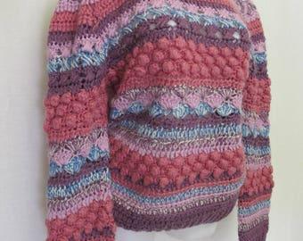 Vintage Handknit Sweater Bulky Cropped Sweater Artisan Sweater OOAK Sweater