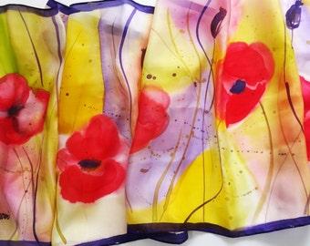Red poppy silk scarf,Poppy silk scarf,Poppy scarf,Hand painted silk scarf,Large silk scarf,Hand painted scarves,Unique handmade scarves