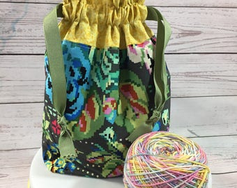 Pixelated Flower Drawstring Project Bag DOTG Size