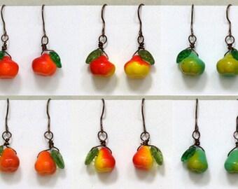 Fruit Earrings Antiqued Copper, Apple, Pear