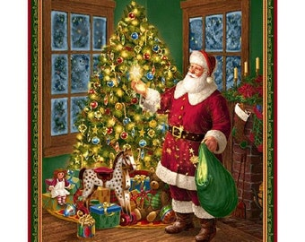 """Christmas Even """"Santa on Christmas Eve"""" Panel by Quilting Treasures"""