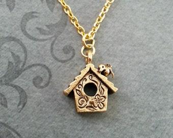 Birdhouse Necklace VERY SMALL Birdhouse Jewelry Gold Bird House Necklace Bird Necklace Bird Jewelry Bird Gift New House Gift Bridesmaid Gift