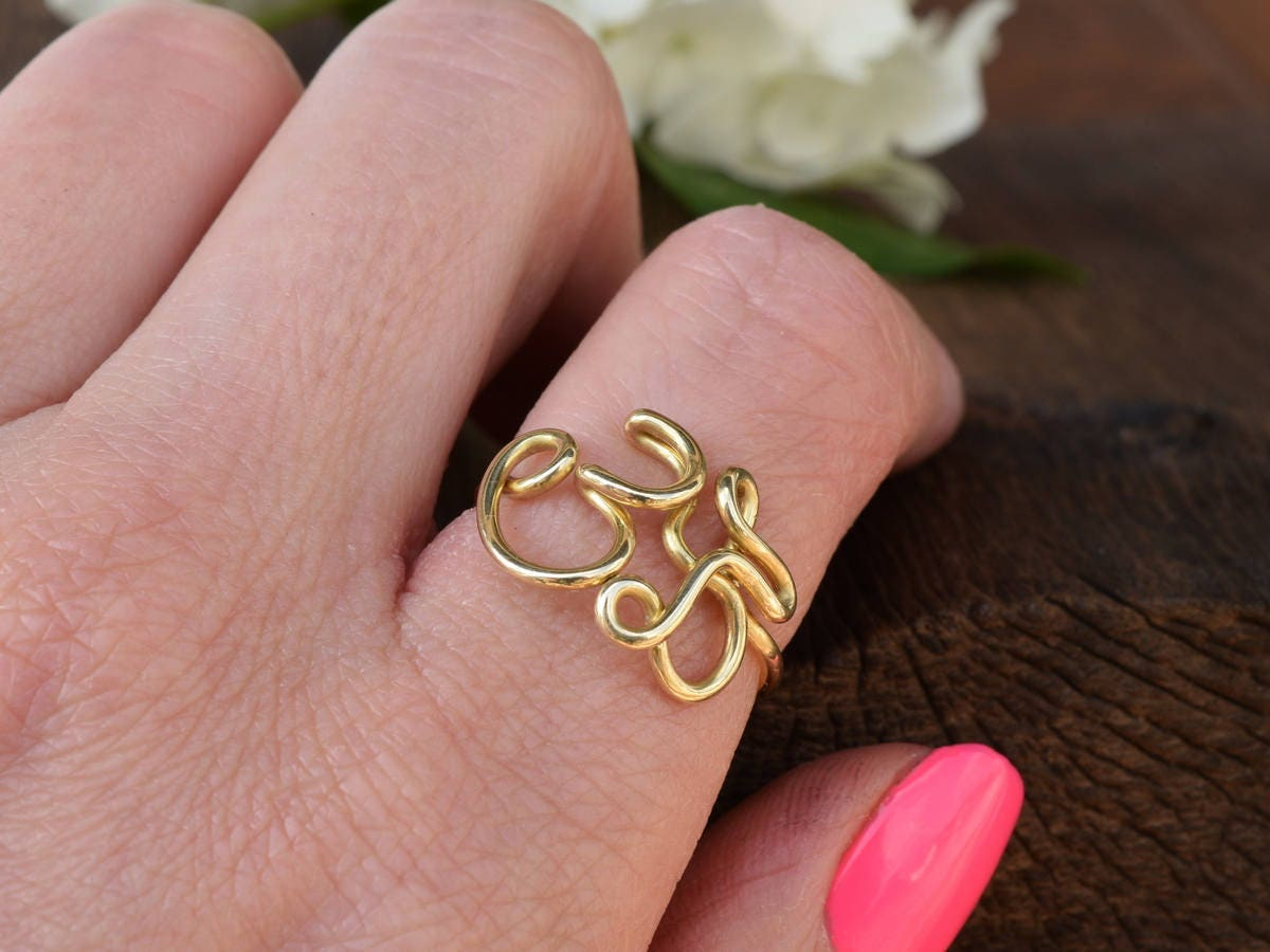 OM Ring AUM Ring Mantra Joga Silver Ring Silver Band