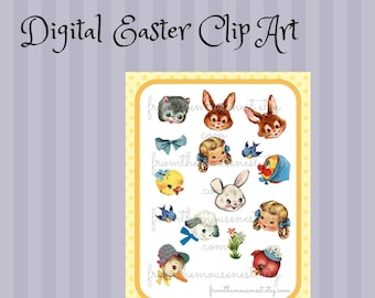 Digital download-Printable vintage inspired Easter images-faces-crafting supply-scrapbooking-cardmaking
