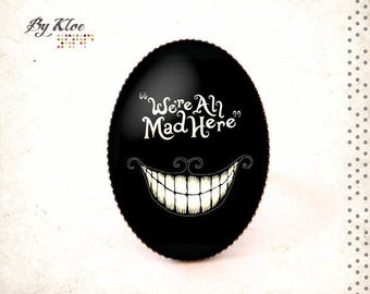 Ring Cabochon • We're all mad here • Alice in Wonderland black white tea