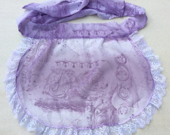 Vintage Apron Lovely Lavender Floral Extra Large Size Retro Kitchen