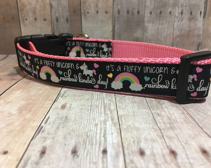 "The Unicorn & Rainbows | Designer 1"" Dog Collar 
