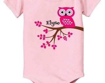Personalized baby gift, owl baby bodysuit, new baby gift, personalized gift