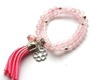Bracelet Set, Pink Quartz stone Gemstone Bracelets