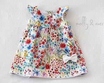 Little Girl Easter Dress, Flutter Sleeve Dress, Floral Dress, Summer Dress