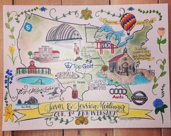CUSTOM Anniversary Map, Hand-drawn