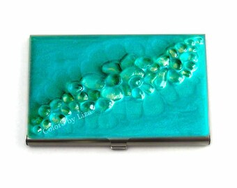 Recycled Glass Inlaid in Hand Painted Enamel Turquoise Metal Wallet Custom Colors and Personalized Options