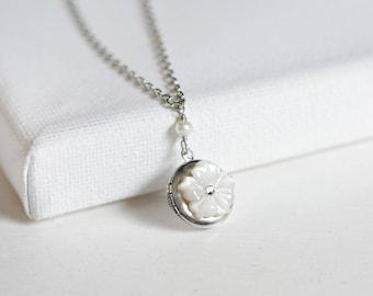 hibiscus // floral locket necklace . tiny locket necklace . dainty charm necklace . wedding jewelry . bridal jewelry