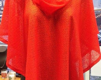 Handmade Sweater Poncho in Shimmer Red Knit