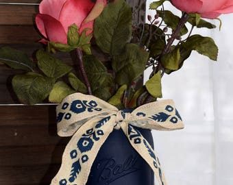 Pink Roses in Blue Mason Jar