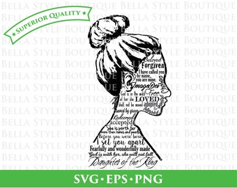 Daughter of the King Identity Female Silhouette svg png eps cut file