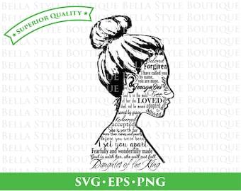 Fille du roi d'identité Silhouette féminine svg png eps coupe fichier
