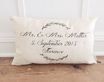 Mr & Mrs laurel wreath pillow cover