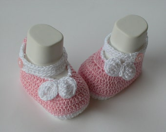 Crochet Baby Pink Shoes with bow/Booties/Slippers/- PATTERN 234 /bow white/ -4 size /Instant Download( Permission to sell finished items)