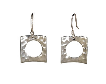Sterling silver hammered drop, square drop earrings, women jewelry, metallic earrings, geometric jewelry, open square dangle earrings