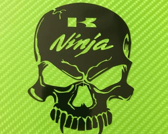 NEW* x2 Kawasaki Ninja skull zx6 zx9 zx10 side fairing tank vinyl motorcycle decal sticker Kawasaki style various colours available