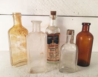 Collection of 5 Small Vintage Glass Bottles/Farmhouse Kitchen Glass Bottle Collection/Shabby Chic Set of 5 Small Glass Collectible Bottles