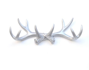 FAUX TAXIDERMY - Silver Antler Rack Wall Hook & Jewelry Organizer - Resin Antler Wall Decor AH10