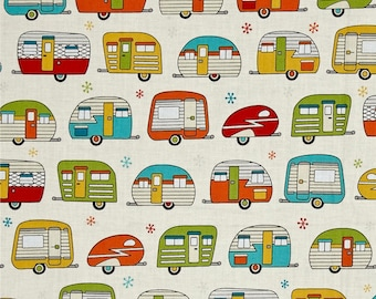Campers On The Road Cream Color  ~  Aurelia Manouvrier  for Robert Kaufman Cotton Quilt