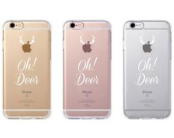 iPhone Rubber Case - Oh Deer - iPhone 6s case, iPhone 7 case, iPhone 6s+ case - Clear Flexible Rubber Silicone TPU case J07...