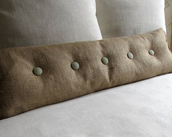 36 inch Burlap with SAGE Burlap buttons sofa or long bed pillow