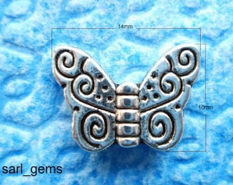 25 Tibetan Silver Detailed Butterfly Spacer Beads 14mm x 10mm x 3mm
