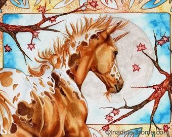 Éliara the brown appaloosa unicorn, fantasy art, original watercolor painting, boho, gypsy, hippie, horse, autumn leaves