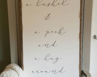 I Love You A Bushel & A Peck Framed Sign 2'x4'|Nursery|Inspirational|Handpainted|Wood Sign