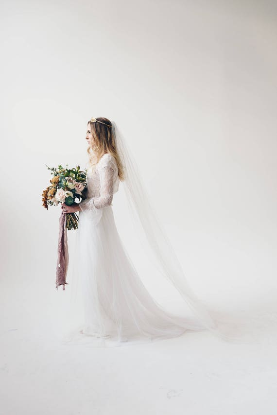 Chapel Length Veil, Wedding Veil, Bridal Veil, Single Tier Veil, Simple Veil, Long Bridal Veil, Pink Veil, Chapel Length Veil, White MARISSA