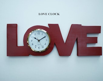Love Clock ...Handcrafted...battery movement