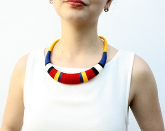 Yellow necklace Statement Necklace, Necklace, textile necklace, tribal necklace, tribal jewelry, dark blue necklace, statement jewelry, boho