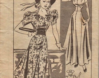 Vintage 1940s Mail Order Sewing Pattern / Marian Martin 9771 / Dress Gown / Size 12 Bust 30