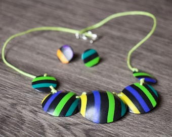 Set striped polymer clay (fimo).