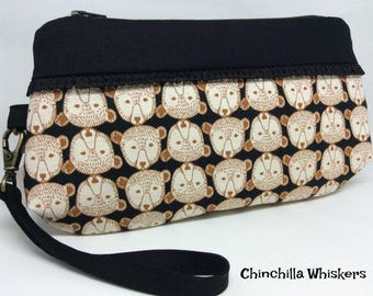 Bear Faces Wristlet in Black and Brown