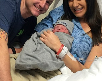 CUFF NEWBORN BEANIE Hat - Gray with Navy, Hospital Hat, Name Reveal, Newborn Baby Boy, Baby Boy Beanie, Monogrammed Baby Boy Hat