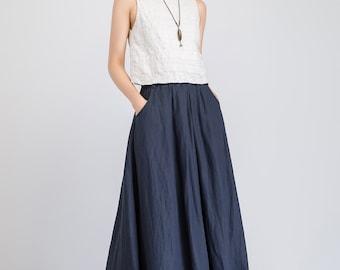 navy ruffle skirt, maxi linen skirt, party skirt, swing skirt, womens skirt, elasic waist skirt, pleated skirt, skirt with pockets 1923