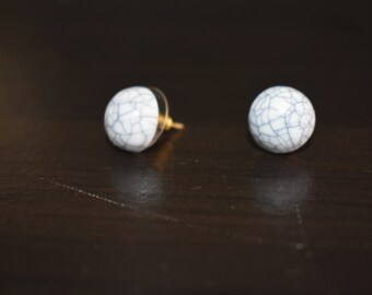 Marble Grey and White Stud Earrings