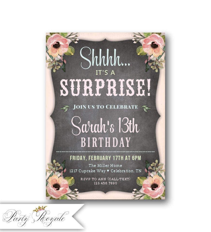 Teen Surprise Birthday invitations / 13th 14th 15th Birthday /