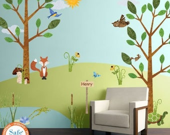 Forest Wall Decals for Nursery and Kids Room - Woodland Stickers - JUMBO SET